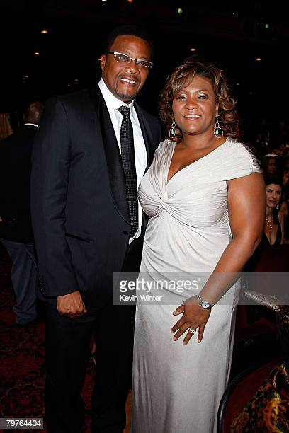 ACCESS*** TV personality Judge Greg Mathis and Linda Reese pose in the audience at the 39th NAACP Image Awards held at the Shrine Auditorium on...