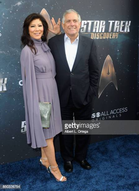 Personality Julie Chen and CBS' Les Monves arrive for the Premiere Of CBS's 'Star Trek Discovery' held at The Cinerama Dome on September 19 2017 in...
