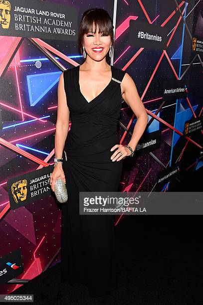 Personality Julie Chen attends the 2015 Jaguar Land Rover British Academy Britannia Awards presented by American Airlines at The Beverly Hilton Hotel...
