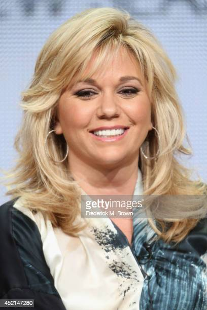 TV personality Julie Chrisley speaks onstage at the 'Chrisley Knows Best' panel during the NBCUniversal USA Network portion of the 2014 Summer...