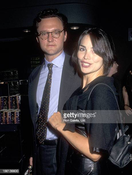 TV Personality Karen Duffy and husband John Lambros attend the 'In Out' New York City Premiere on September 15 1997 at Chelsea West Cinemas in New...