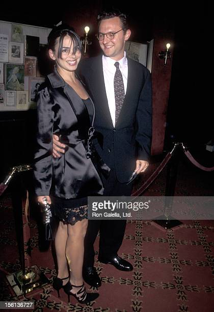 TV Personality Karen Duffy and husband John Lambros attend 'The Peacemaker' New York City Premiere on September 22 1997 at Ziegfeld Theater in New...