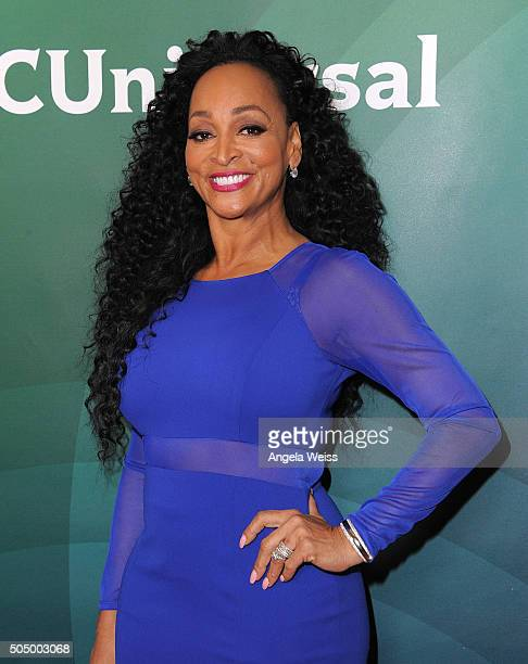 TV personality Karen Huger arrives at the 2016 Winter TCA Tour NBCUniversal Press Tour Day 2 at Langham Hotel on January 14 2016 in Pasadena...