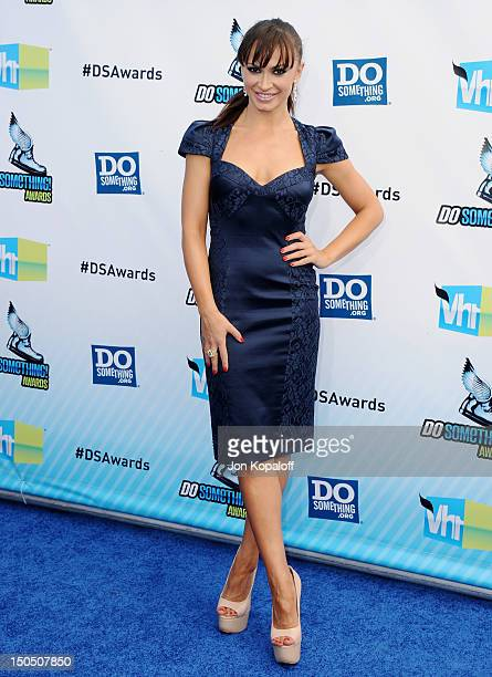 TV personality Karina Smirnoff arrives at the DoSomethingorg And VH1's 2012 Do Something Awards at the Barker Hangar on August 19 2012 in Santa...