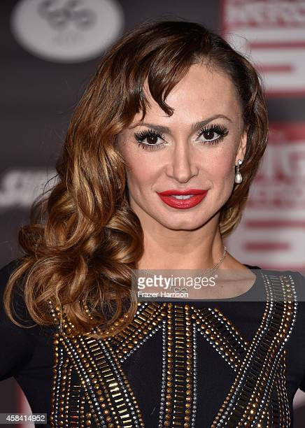 TV personality Karina Smirnoff attends the premiere of Disney's Big Hero 6 at the El Capitan Theatre on November 4 2014 in Hollywood California