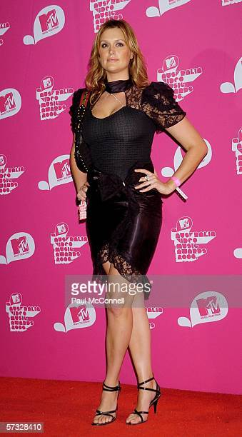 TV personality Kate Fischer arrives for the second MTV Australia Video Music Awards at the Sydney SuperDome April 12 2006 in Sydney Australia