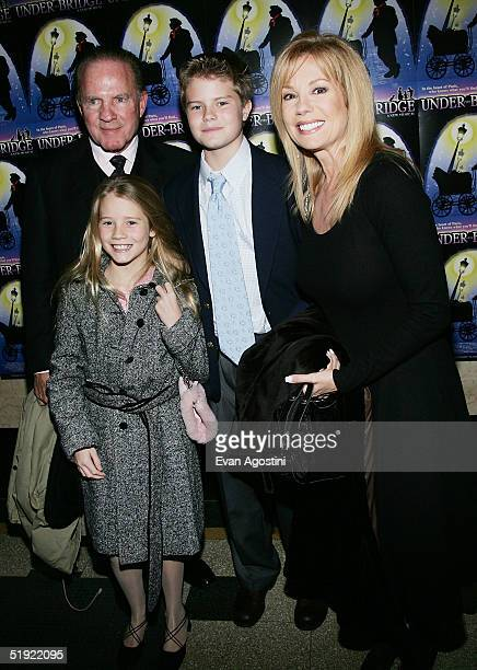 """Personality Kathie Lee Gifford and husband Frank Gifford, son Cody and daughter Cassidy arrive at the opening night of her new musical """"Under The..."""