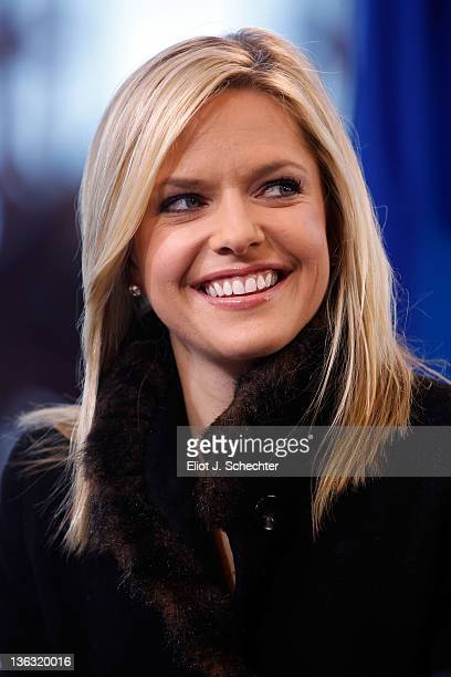 TV personality Kathryn Tappen speaks during the 2012 Bridgestone NHL Winter Classic Practice Sessions at Citizens Bank Park on January 1 2012 in...