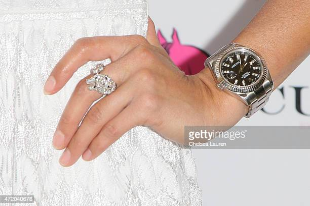 TV personality Katie Cleary watch and ring detail arrives at the 2nd Annual How2Girl Kentucky Derby Ladies Luncheon on May 2 2015 in Westlake Village...