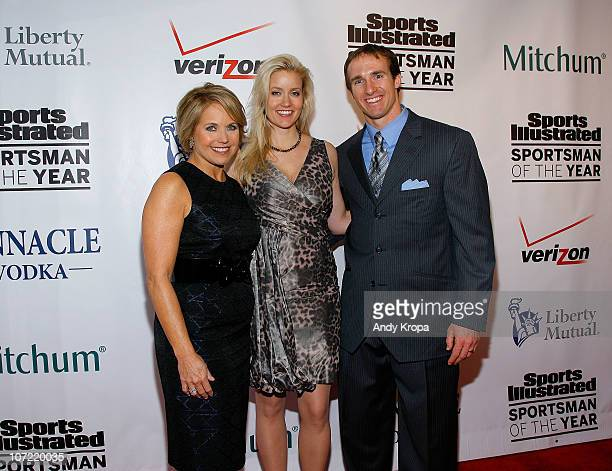 Personality Katie Couric Brittany Brees and Sportsman of the Year Drew Brees of the New Orleans Saints attend the 2010 Sports Illustrated Sportsman...