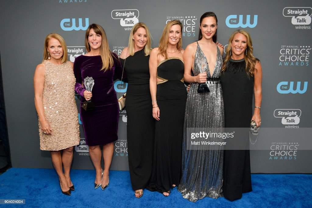 TV personality Katie Couric, director Patty Jenkins, SeeHer Award recipient Gal Gadot and SeeHer executives attend The 23rd Annual Critics' Choice Awards at Barker Hangar on January 11, 2018 in Santa Monica, California.