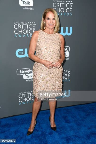 TV personality Katie Couric poses in the press room during The 23rd Annual Critics' Choice Awards at Barker Hangar on January 11 2018 in Santa Monica...