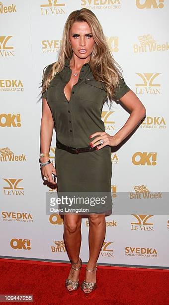 TV personality Katie Price attends the OK Magazine and BritWeek Oscars party at The London West Hollywood on February 25 2011 in West Hollywood...