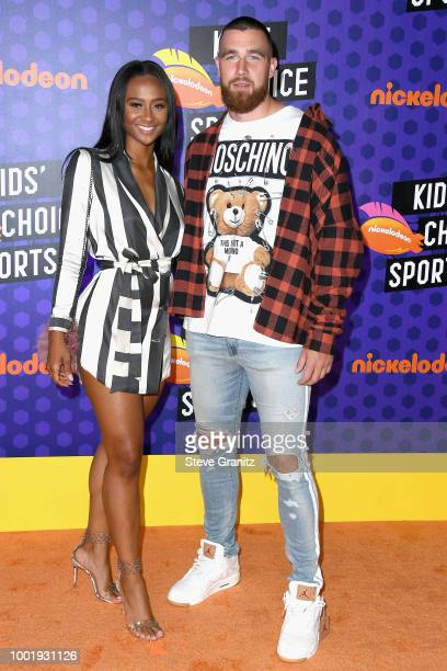 Personality Kayla Nicole and NFL player Travis Kelce attend the Nickelodeon Kids' Choice Sports 2018 at Barker Hangar on July 19, 2018 in Santa...