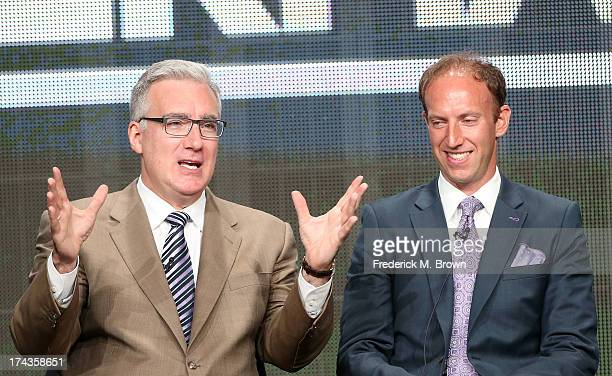 Personality Keith Olbermann and Jamie Horowitz VP at ESPN speak onstage during the Olbermann panel at the ESPN portion of the 2013 Summer Television...