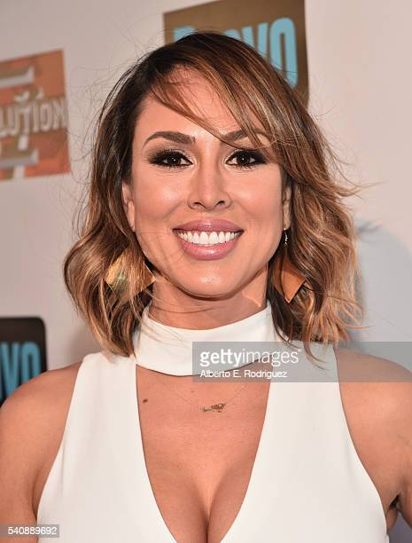"Personality Kelly Dodd attends the premiere party for Bravo's ""The Real Housewives of Orange County"" 10 year celebration at Boulevard3 on June 16,..."