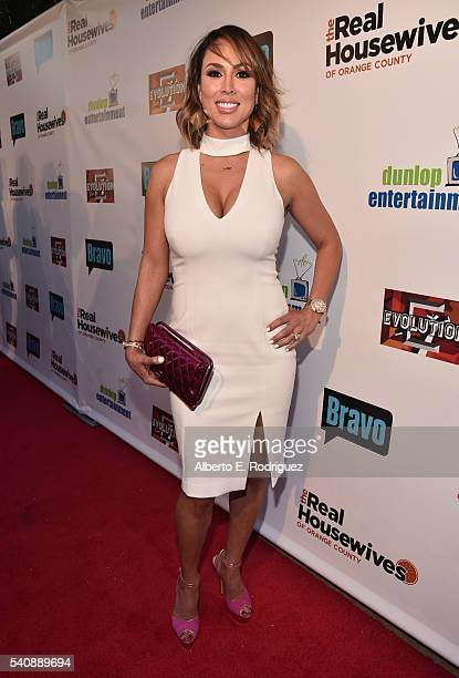 TV personality Kelly Dodd attends the premiere party for Bravo's 'The Real Housewives of Orange County' 10 year celebration at Boulevard3 on June 16...