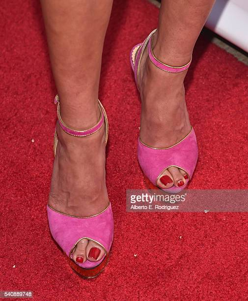 TV personality Kelly Dodd shoe detail attends the premiere party for Bravo's The Real Housewives of Orange County 10 year celebration at Boulevard3...