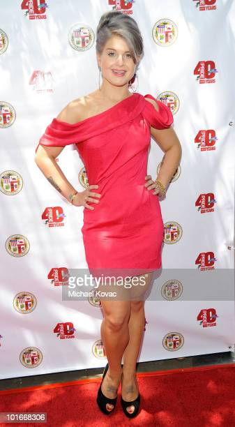 TV personality Kelly Osbourne arrives at The Mayor's Garden Party celebrating Christopher Street West and LA Pride at The Getty House on June 6 2010...