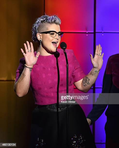 TV personality Kelly Osbourne speaks onstage during TrevorLIVE LA Honoring Robert Greenblatt Yahoo and Skylar Kergil for The Trevor Project presented...