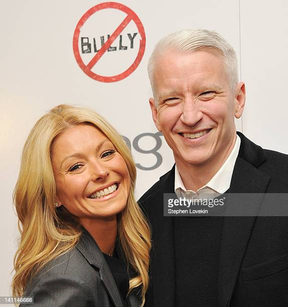 TV personality Kelly Ripa and CNN anchor Anderson Cooper attend The Weinstein Company Bing screening Of 'Bully' at Crosby Street Hotel on March 11...