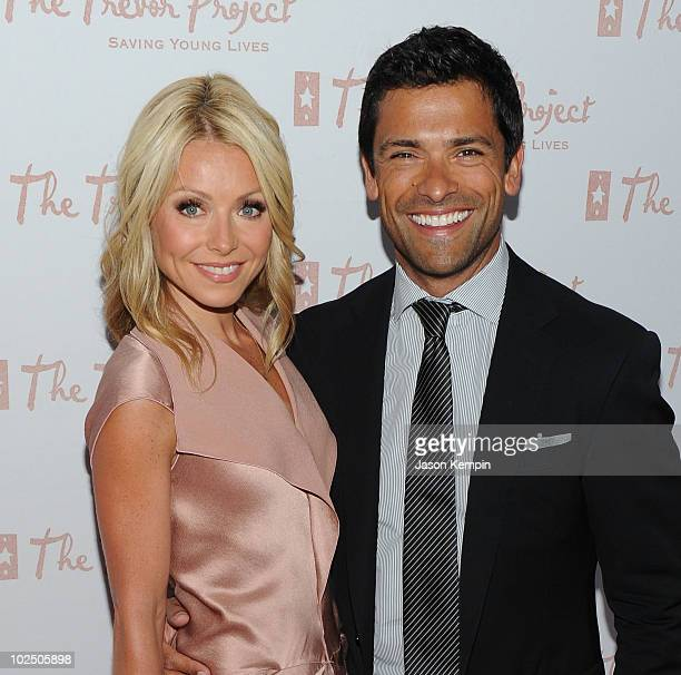 TV personality Kelly Ripa and husband Mark Consuelos attend the 10th Annual Trevor New York Summer Gala on June 28 2010 in New York City