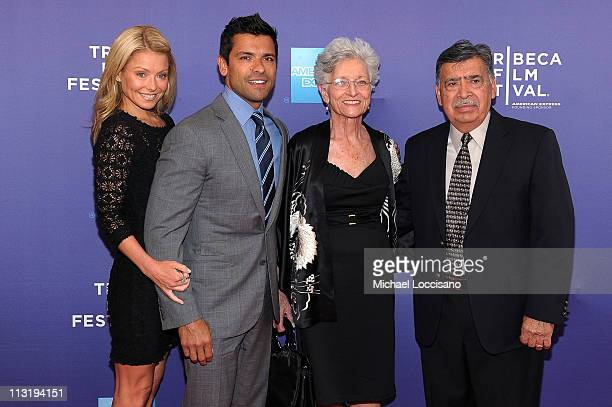 TV personality Kelly Ripa professional athlete Mark Consuelos Camilla Consuelos and Saul Consuelos attend the premiere of Off the Rez during the 2011...