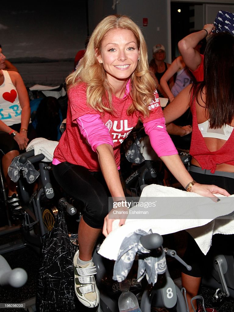 TV personality Kelly Ripa spins in SoulCycle's Soul Relief Rides at SoulCycle Tribeca on November 11, 2012 in New York City.