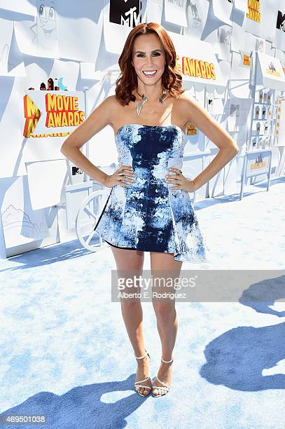 TV personality Keltie Knight attends The 2015 MTV Movie Awards at Nokia Theatre LA Live on April 12 2015 in Los Angeles California
