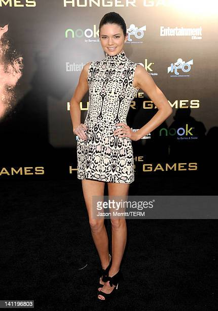 TV personality Kendall Jenner arrives at the premiere of Lionsgate's The Hunger Games at Nokia Theatre LA Live on March 12 2012 in Los Angeles...