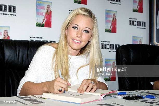 TV personality Kendra Wilkinson autographs her new book 'Sliding Into Home' at American Icon on July 10 2010 in San Diego California