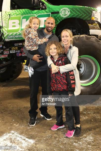 Personality Kendra Wilkinson Baskett Hank Baskett son Hank and daughter Alijah attend Monster Jam Celebrity Event at Angel Stadium on February 24...