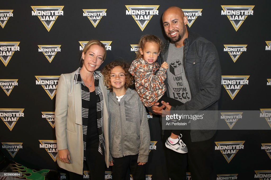 TV Personality Kendra Wilkinson Baskett, son Hank, daughter Alijah, and Hank Baskett arrive at Monster Jam Celebrity Event at Angel Stadium on February 24, 2018 in Anaheim, California.