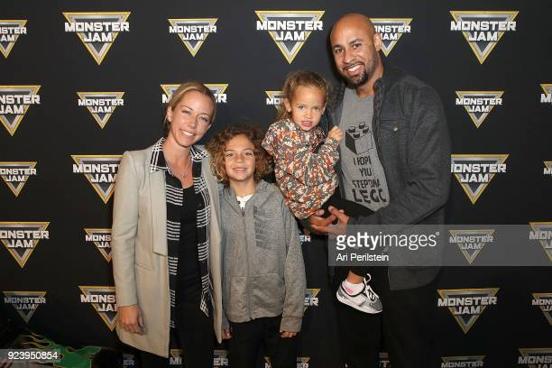 TV Personality Kendra Wilkinson Baskett son Hank daughter Alijah and Hank Baskett arrive at Monster Jam Celebrity Event at Angel Stadium on February...