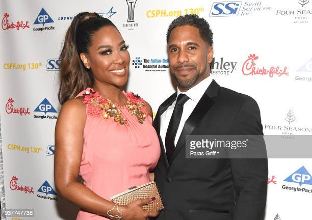 TV personality Kenya Moore and Marc Daly attend Carrie SteelePitts Home 130th Anniversary Gala at Four Seasons Hotel on March 24 2018 in Atlanta...