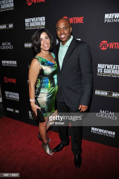 TV personality Kevin Frazier and wife Yazmin Frazier arrive at a VIP prefight party at the WBC welterweight title fight between Floyd Mayweather Jr...