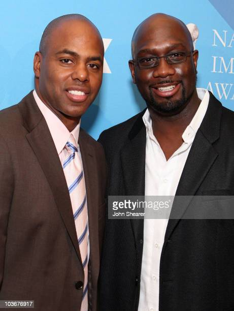 TV personality Kevin Frazier and writer Richard T Jones attend the nominee announcement for the 39th NAACP Image Awards at the Beverly Hilton on...
