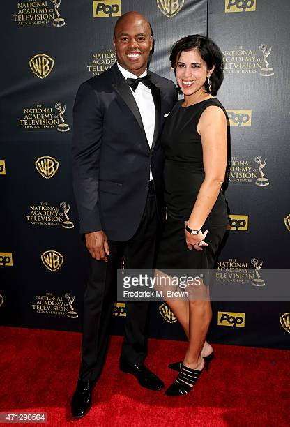 TV personality Kevin Frazier and Yazmin Cader Frazier attend The 42nd Annual Daytime Emmy Awards at Warner Bros Studios on April 26 2015 in Burbank...