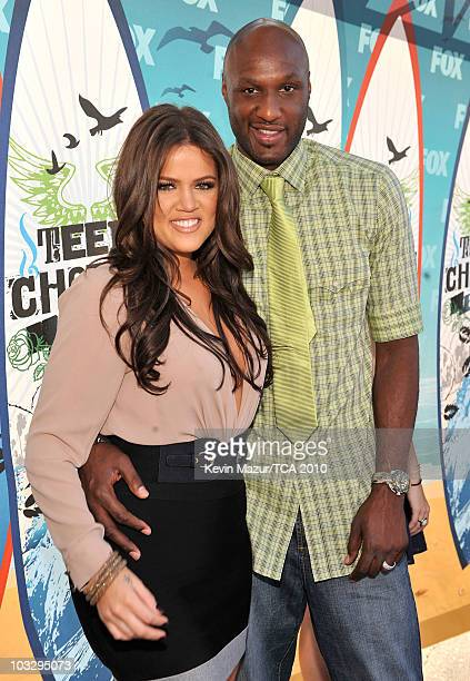 TV personality Khloe Kardashian and NBA player Lamar Odom arrive at the 2010 Teen Choice Awards at Gibson Amphitheatre on August 8 2010 in Universal...