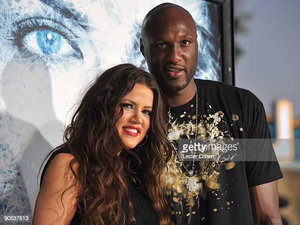 TV personality Khloe Kardashian and NBA player Lamar Odom arrives on the red carpet of the Los Angeles premiere of 'Whiteout' at the Mann Village...