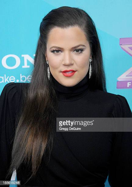 """Personality Khloe Kardashian arrives at FOX's """"The X Factor"""" finalists party at The Bazaar at the SLS Hotel Beverly Hills on November 5, 2012 in Los..."""