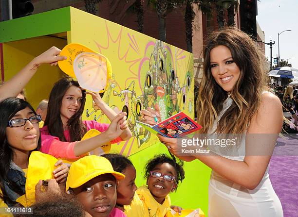TV personality Khloe Kardashian arrives at Nickelodeon's 26th Annual Kids' Choice Awards at USC Galen Center on March 23 2013 in Los Angeles...
