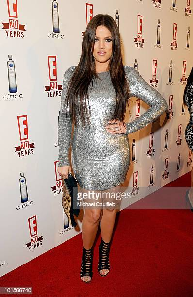 TV personality Khloe Kardashian arrives at the E 20th anniversary party celebrating two decades of pop culture presented by Ciroc Ultra Premium Vodka...