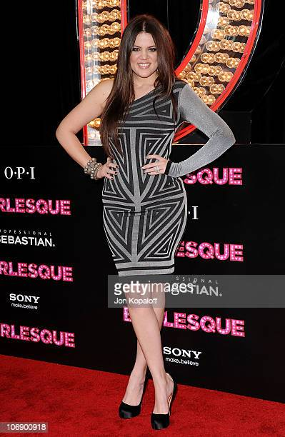 TV personality Khloe Kardashian arrives at the Los Angeles Premiere Burlesque at Grauman's Chinese Theatre on November 15 2010 in Hollywood California