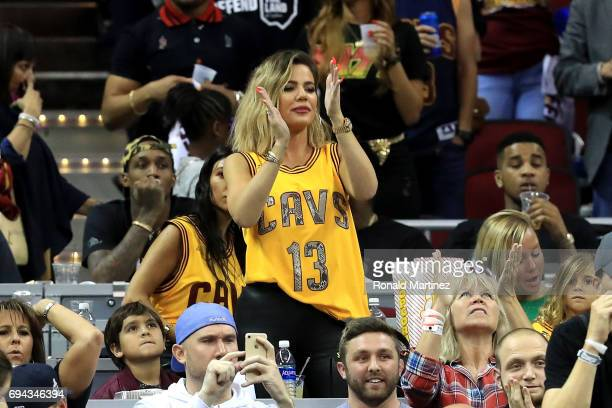 TV personality Khloe Kardashian attends Game 4 of the 2017 NBA Finals between the Golden State Warriors and the Cleveland Cavaliers at Quicken Loans...