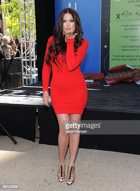 Personality Khloe Kardashian joins The Declaration of Real Talk campaign at the Flatiron District South Pedestrian Plaza on April 14 2010 in New York...