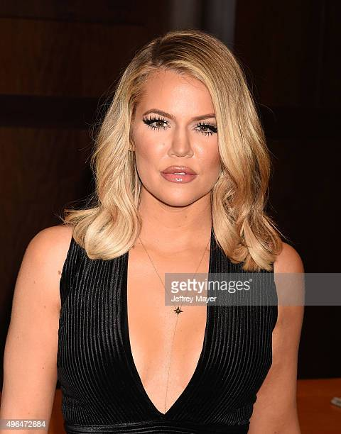 TV personality Khloe Kardashian signs and discusses her new book 'Strong Looks Better Naked' at Barnes Noble at The Grove on November 9 2015 in Los...