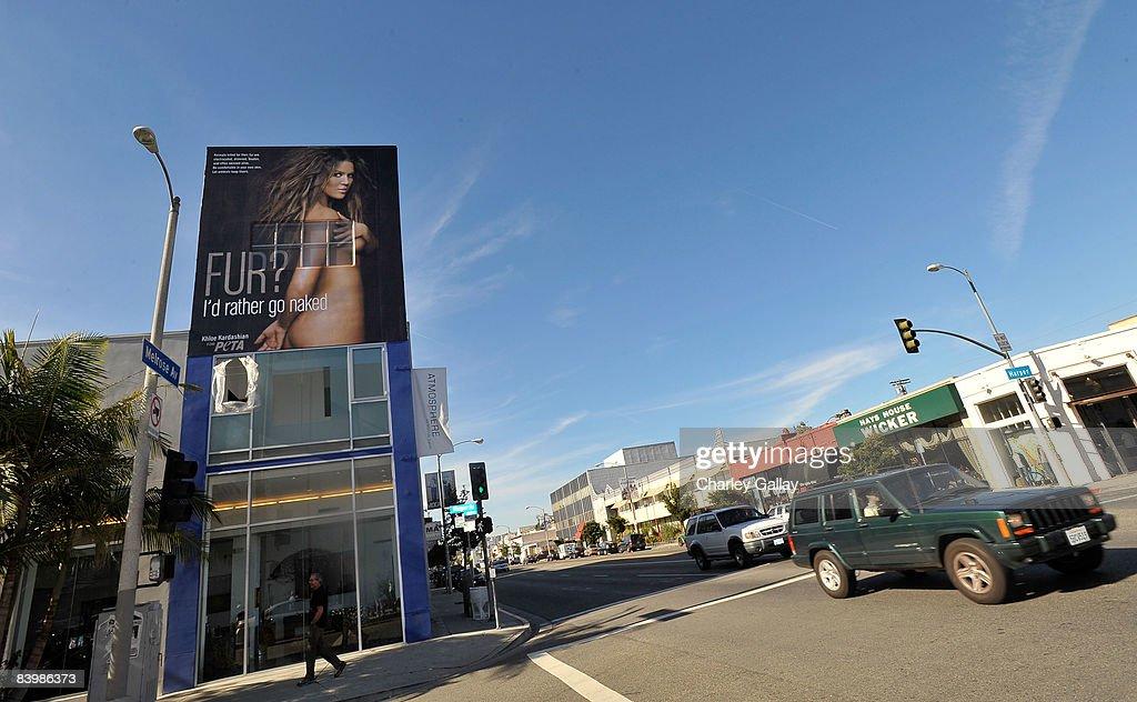 TV personality Khloe Kardashian's PETA 'Fur? I'd Rather Go Naked' billboard is seen on December 10, 2008 in Los Angeles, California.