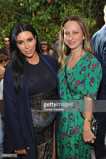 TV personality Kim Kardashian and jewelry designer Jennifer Meyer attends CFDA/Vogue Fashion Fund Show and Tea at Chateau Marmont on October 20 2015...