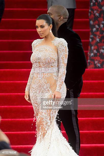 TV personality Kim Kardashian and Kanye West attend the China Through The Looking Glass Costume Institute Benefit Gala at Metropolitan Museum of Art...
